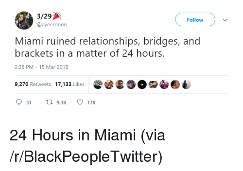 brackets: 3/29  @ayeeronnn  Follow  Miami ruined relationships, bridges, and  brackets in a matter of 24 hours.  2:38 PM-15 Mar 2018  9,270 Retweets 17,133 Likes <p>24 Hours in Miami (via /r/BlackPeopleTwitter)</p>