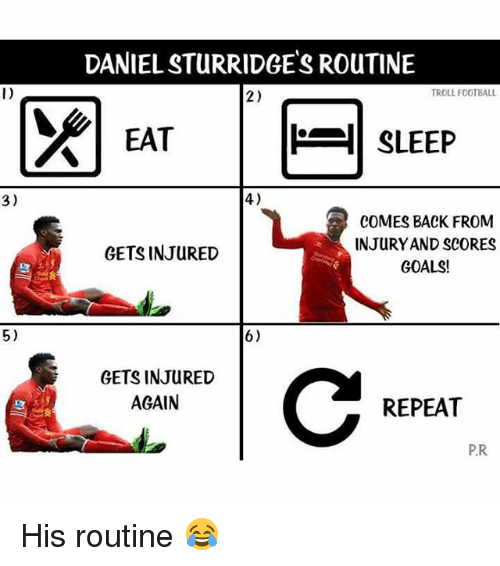 Goals, Soccer, and Troll: 3)  5)  DANIELSTURRIDGES RouTINE  TROLL FOOTBALL  2)  SLEEP  EAT  4)  COMES BACK FROM  INJURY AND SCORES  GETS INJURED  GOALS!  6)  GETS INJURED  AGAIN  REPEAT  P.R His routine 😂