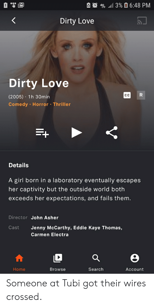 Kaye: 3% 6:48 PM  4  Dirty Love  Dirty Love  R  CC  (2005) 1h 30min  Comedy Horror Thriller  Details  A girl born in a laboratory eventually escapes  her captivity but the outside world both  exceeds her expectations, and fails them.  Director John Asher  Cast  Jenny McCarthy, Eddie Kaye Thomas,  Carmen Electra  Home  Search  Browse  Account  V Someone at Tubi got their wires crossed.