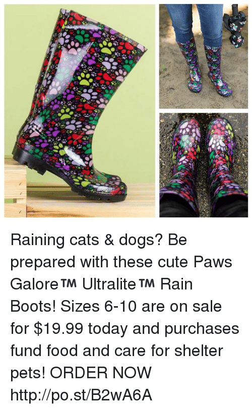 rain cat: -3  a'@- Raining cats & dogs? Be prepared with these cute Paws Galore™ Ultralite™ Rain Boots! Sizes 6-10 are on sale for $19.99 today and purchases fund food and care for shelter pets!  ★ORDER NOW★  http://po.st/B2wA6A