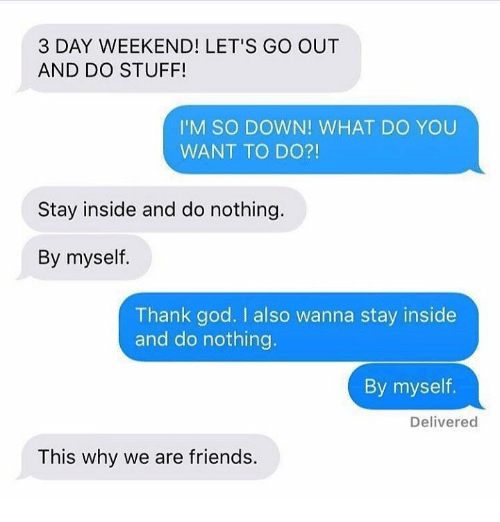 3 Day Weekend: 3 DAY WEEKEND! LET'S GO OUT  AND DO STUFF!  I'M SO DOWN! WHAT DO YOU  WANT TO DO?!  Stay inside and do nothing.  By myself.  Thank god. I also wanna stay inside  and do nothing.  By myself.  Delivered  This why we are friends.