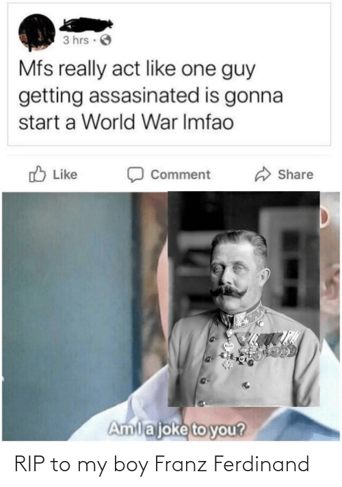 comment: 3 hrs ·  Mfs really act like one guy  getting assasinated is gonna  start a World War Imfao  O Like  Share  Comment  Amlajoke to you? RIP to my boy Franz Ferdinand