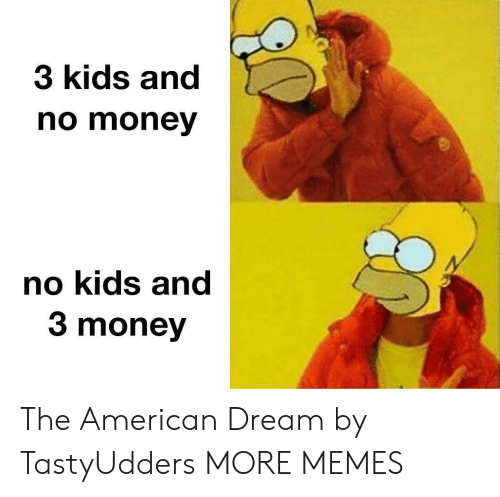 American Dream: 3 kids and  no money  no kids and  3 money The American Dream by TastyUdders MORE MEMES