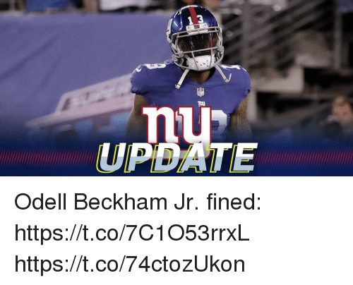 Memes, Odell Beckham Jr., and 🤖: 3  nu  UPDATE Odell Beckham Jr. fined: https://t.co/7C1O53rrxL https://t.co/74ctozUkon