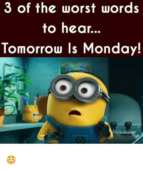 Tomorrow Is Monday: 3 of the worst words  to hear...  Tomorrow Is Monday! 😳
