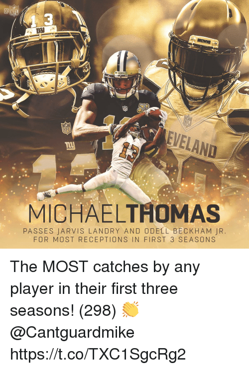 Odell Beckham Jr.: 3  SAINTS  EVELAND  MICHAELTHOMAS  PASSES JARVIS LANDRY AND ODELL BECKHAM JR  FOR MOST RECEPTIONS IN FIRST 3 SEASONS The MOST catches by any player in their first three seasons! (298)  👏 @Cantguardmike https://t.co/TXC1SgcRg2