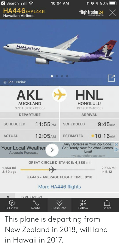 utc: 3 Search l  10:04 AM  0 * 90%-  HA446/HAL446  Hawaiian Airlines  flightradar24 ×  LIVE AIR TRAFFIC  .HAWAİİAN  O Joe Osciak  AKL  HNL  AUCKLAND  NZDT (UTC +13:00)  DEPARTURE  HONOLULU  HST (UTC-10:00)  ARRIVAL  SCHEDULED 11:55PM SCHEDULED 9:45AM  ACTUAL  12:05AM ESTIMATED 10:16AM  Daily Updates in Your Zip Code.  Your Local Weather  Accurate Forecast  Get Ready Now for What Comes p  Next!  myaccurateforecast.com  GREAT CIRCLE DISTANCE: 4,389 mi  1,854 mi  3:59 ago  2,556 mi  in 5:12  HA446 AVERAGE FLIGHT TIME: 8:16  More HA446 flights  TYPE (4332  刁K  Follow  3D view  Route  Less info  Share This plane is departing from New Zealand in 2018, will land in Hawaii in 2017.
