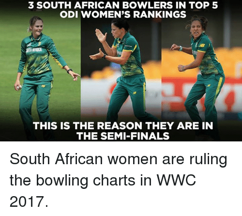 Finals, Memes, and Bowling: 3 SOUTH AFRICAN BOWLERS IN TOP 5  ODI WOMEN'S RANKINGS  THIS IS THE REASON THEY ARE IN  THE SEMI-FINALS South African women are ruling the bowling charts in WWC 2017.