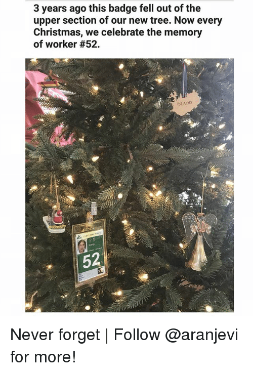 Christmas, Memes, and Tree: 3 years ago this badge fell out of the  upper section of our new tree. Now every  Christmas, we celebrate the memory  of worker #52.  SLADO  52  극. Never forget | Follow @aranjevi for more!