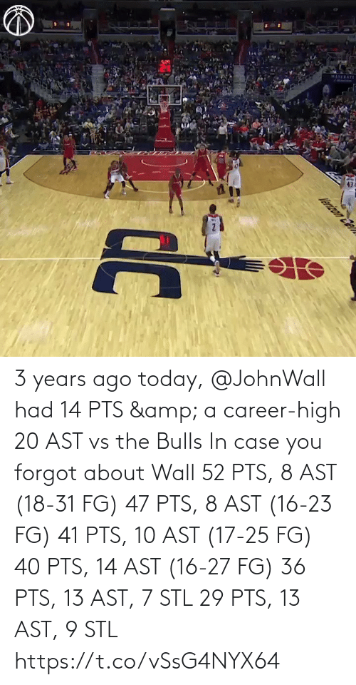 stl: 3 years ago today, @JohnWall had 14 PTS & a career-high 20 AST vs the Bulls  In case you forgot about Wall 52 PTS, 8 AST (18-31 FG) 47 PTS, 8 AST (16-23 FG) 41 PTS, 10 AST (17-25 FG) 40 PTS, 14 AST (16-27 FG)  36 PTS, 13 AST, 7 STL 29 PTS, 13 AST, 9 STL   https://t.co/vSsG4NYX64