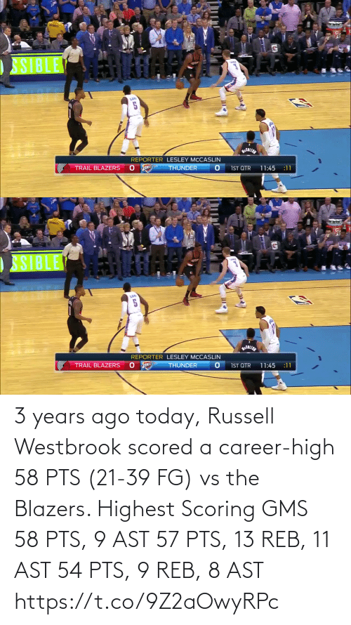 westbrook: 3 years ago today, Russell Westbrook scored a career-high 58 PTS (21-39 FG) vs the Blazers.   Highest Scoring GMS 58 PTS, 9 AST 57 PTS, 13 REB, 11 AST 54 PTS, 9 REB, 8 AST  https://t.co/9Z2aOwyRPc
