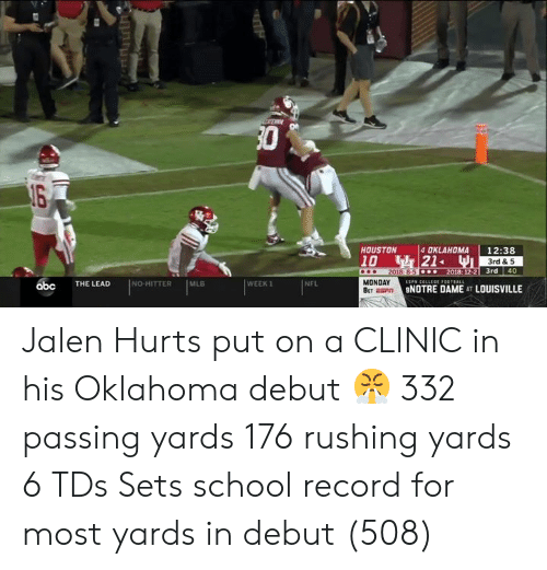 Clinic: 30  4 OKLAHOMA  21WI  HOUSTON  12:38  10  2018 8-5 .  3rd & 5  2018: 12-2 3rd  40  P CELLEGED0TBALL  NO HITTER  MLB  WEEK 1  NFL  MONDAY  THE LEAD  abc  NOTRE DAME AT LOUISVILLE  BET BP Jalen Hurts put on a CLINIC in his Oklahoma debut 😤  332 passing yards 176 rushing yards 6 TDs Sets school record for most yards in debut (508)