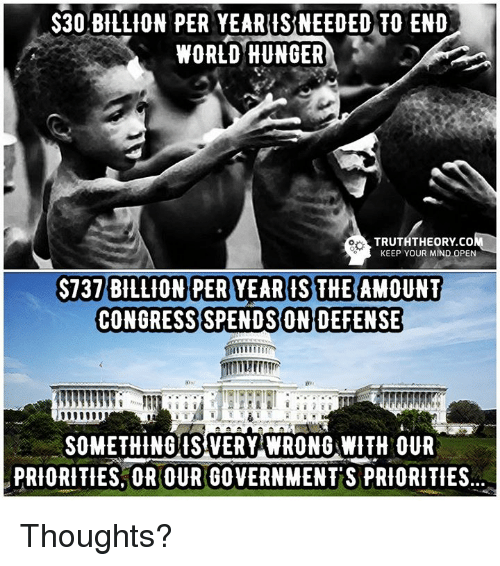 end-world-hunger: $30 BILLION PER YEARIS NEEDED TO END  WORLD HUNGER  TRUTHTHEORY.co  KEEP YOUR MIND OPEN  S737 BILLION PER YEARIS THE AMOUNT  CONGRESS SPENDS ON DEFENSE  SOMETHING VERY WRONG WITH OUR  PRIORITIES OR OUR GOVERNMENT'S PRIORITIES Thoughts?