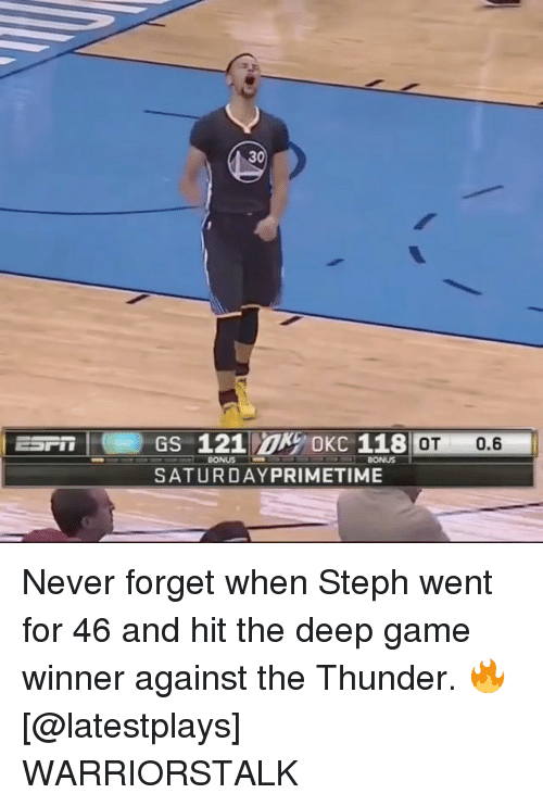 Basketball, Golden State Warriors, and Sports: 30  ESP GS 121 OKC 118  : OT 0.6  BONUS  SATURDAYPRIMETIME Never forget when Steph went for 46 and hit the deep game winner against the Thunder. 🔥 [@latestplays] WARRIORSTALK
