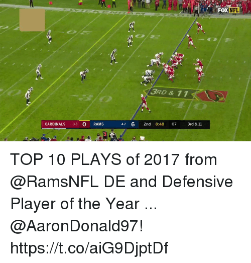 Memes, Cardinals, and Rams: 30  FOXNFL  3RD & 11  CARDINALS 3-3 O RAMS  4-2 6 2nd 8:48 07 3rd& 11  3 TOP 10 PLAYS of 2017 from @RamsNFL DE and Defensive Player of the Year ... @AaronDonald97! https://t.co/aiG9DjptDf