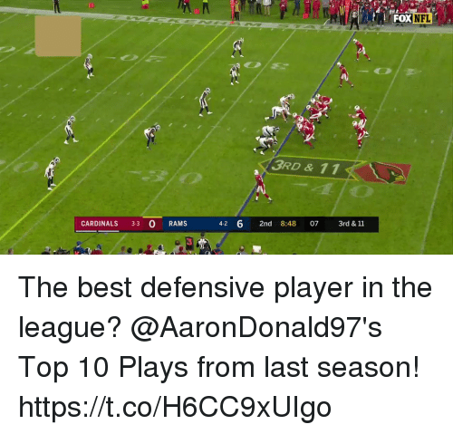 Memes, Best, and Cardinals: 30  FOXNFL  3RD & 11  CARDINALS 3-3 O RAMS  4-2 6 2nd 8:48 07 3rd& 11  3 The best defensive player in the league?  @AaronDonald97's Top 10 Plays from last season! https://t.co/H6CC9xUIgo