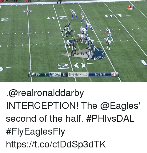 Philadelphia Eagles, Memes, and 🤖: 30  RD &  DAL 6 2nd 9:14 :10 3rd & 17 .@realronalddarby INTERCEPTION!  The @Eagles' second of the half. #PHIvsDAL #FlyEaglesFly https://t.co/ctDdSp3dTK