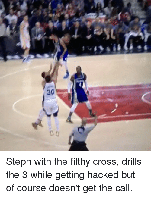Basketball, Golden State Warriors, and Sports: 30 Steph with the filthy cross, drills the 3 while getting hacked but of course doesn't get the call.