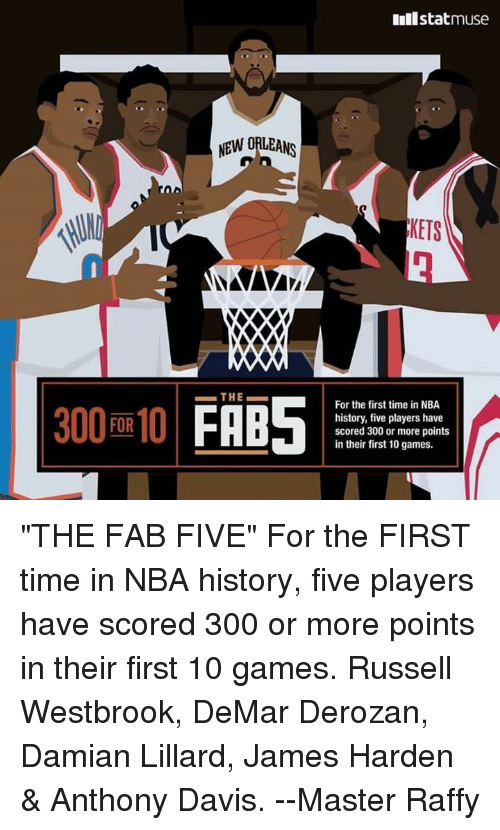 """DeMar DeRozan, James Harden, and Memes: 300 FOR 10  NEW ORLEANS  XXXO  THE  Inilstatmuse  KETS  For the first time in NBA  history, five players have  scored 300 or more points  in their first 10 games. """"THE FAB FIVE""""  For the FIRST time in NBA history, five players have scored 300 or more points in their first 10 games.  Russell Westbrook, DeMar Derozan, Damian Lillard, James Harden & Anthony Davis.   --Master Raffy"""