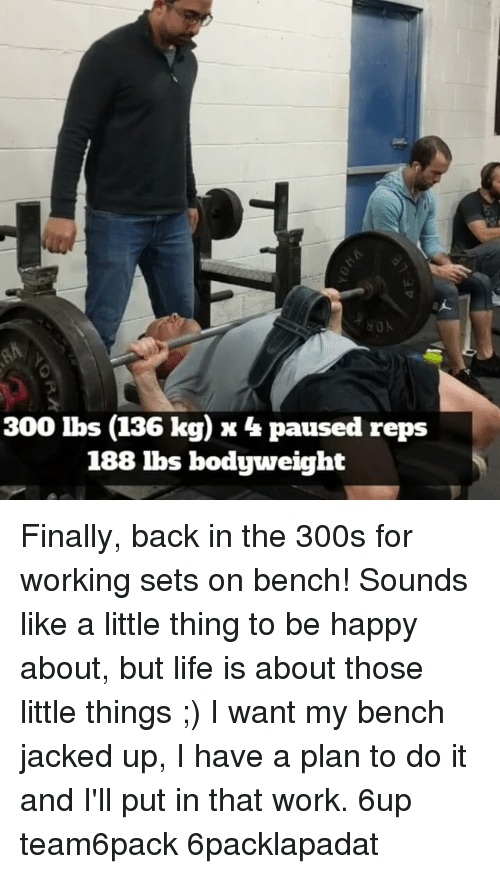 Memes, 300, and Be Happy: 300 lbs (136 kg) x 4 paused reps  188 lbs bodyweight Finally, back in the 300s for working sets on bench! Sounds like a little thing to be happy about, but life is about those little things ;) I want my bench jacked up, I have a plan to do it and I'll put in that work. 6up team6pack 6packlapadat