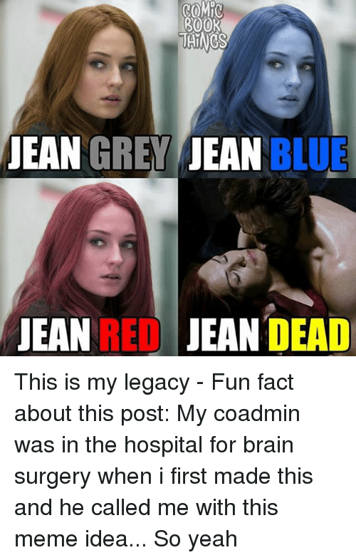 Meme Ideas: 300K  JEAN  GREY JEAN BLUE  JEAN REDJEAN DEAD This is my legacy - Fun fact about this post: My coadmin was in the hospital for brain surgery when i first made this and he called me with this meme idea... So yeah
