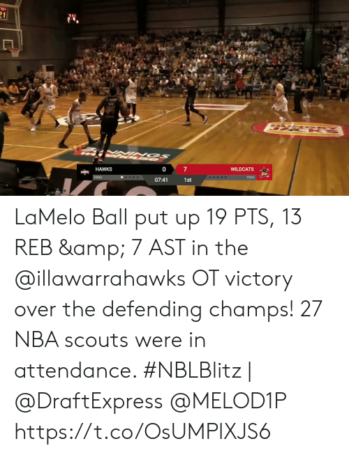 Attendance: 31  21  7  WILDCATS  HAWKS  HAWKS  WILDCATS  FOULS  FOULS  07:41  1st LaMelo Ball put up 19 PTS, 13 REB & 7 AST in the @illawarrahawks OT victory over the defending champs!   27 NBA scouts were in attendance.   #NBLBlitz | @DraftExpress @MELOD1P   https://t.co/OsUMPlXJS6