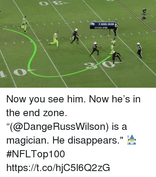 "Memes, Russell Wilson, and 🤖: 31 RUSSELL WILSON  DISTANCE 31YDS Now you see him. Now he's in the end zone.  ""(@DangeRussWilson) is a magician. He disappears."" 🧙‍♂️  #NFLTop100 https://t.co/hjC5l6Q2zG"