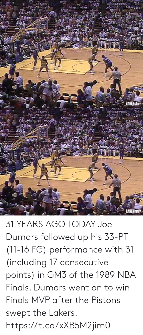 After The: 31 YEARS AGO TODAY Joe Dumars followed up his 33-PT (11-16 FG) performance with 31 (including 17 consecutive points) in GM3 of the 1989 NBA Finals.   Dumars went on to win Finals MVP after the Pistons swept the Lakers.   https://t.co/xXB5M2jim0
