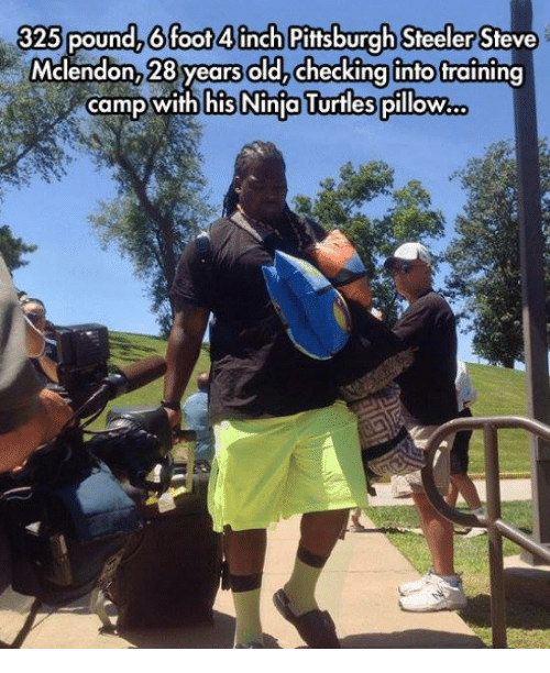 Pittsburgh Steeler: 325 pound, 6 foot 4inch Pittsburgh Steeler  Mclendon, 28 years old, checking into training  camp with his Ninja Turtles pillow.