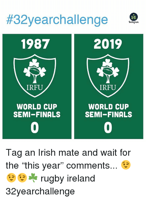 "Rugby:  #32yearchal lenge  1987  2019  IRFU  IRFU  WORLD CUP  SEMI-FINALS  WORLD CUP  SEMI-FINALS  0  0 Tag an Irish mate and wait for the ""this year"" comments... 😉😉😉☘️ rugby ireland 32yearchallenge"
