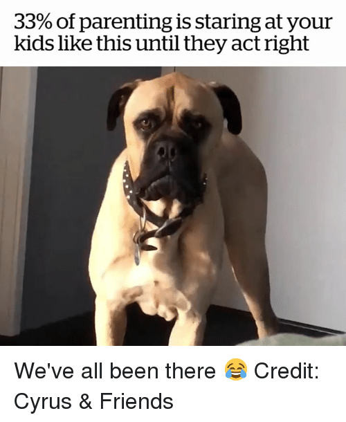 Friends, Kids, and Been: 33% of parenting is staring at your  kids like this until they act right We've all been there 😂  Credit: Cyrus & Friends