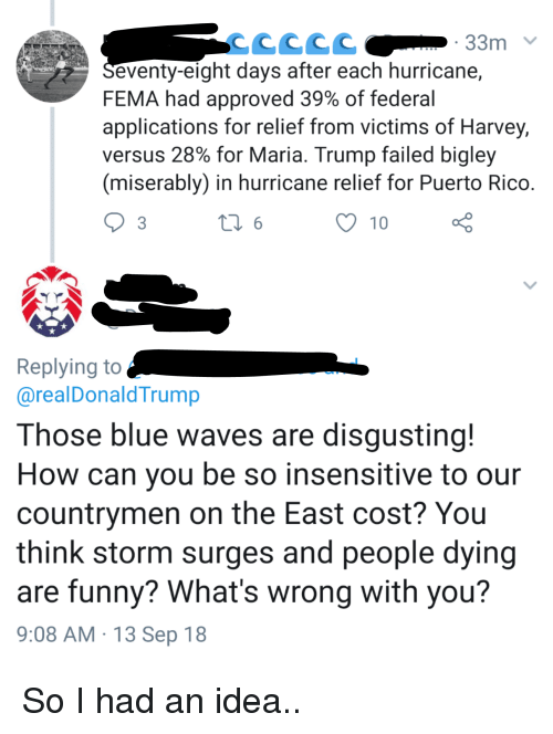 Funny, Waves, and Blue: 33m  eventy-eight days after each hurricane,  FEMA had approved 39% of federal  applications for relief from victims of Harvey,  versus 28% for Maria. Trump failed bigley  (miserably) in hurricane relief for Puerto Rico  10  Replying to  @realDonaldTrump  Those blue waves are disqusting!  How can you be so insensitive to our  countrymen on the East cost? You  think storm surges and people dying  are funny? What's wrong with you?  9:08 AM 13 Sep 18