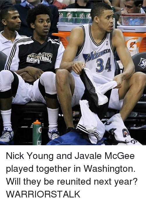 Basketball, Golden State Warriors, and Nick Young: 34  BAS  02 Nick Young and Javale McGee played together in Washington. Will they be reunited next year? WARRIORSTALK