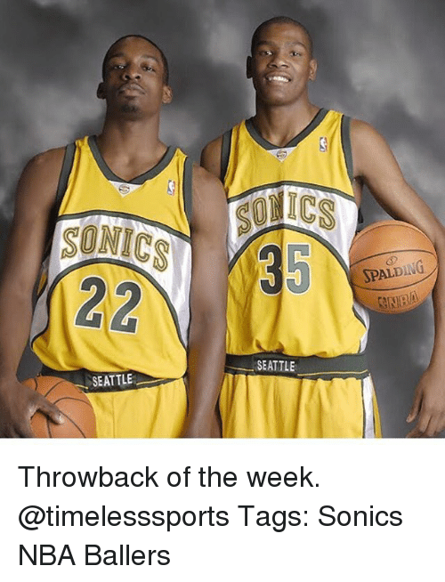 Memes, Nba, and Seattle: 35  SPALDING  SEATTLE  SEATTLE Throwback of the week. @timelesssports Tags: Sonics NBA Ballers