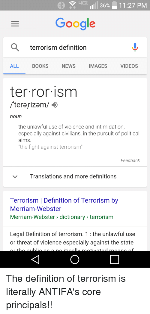 the systemic use of terror as a means of coercion Define terrorism terrorism synonyms, terrorism pronunciation, terrorism translation, english dictionary definition of terrorism n the use of violence or the threat of violence, especially.