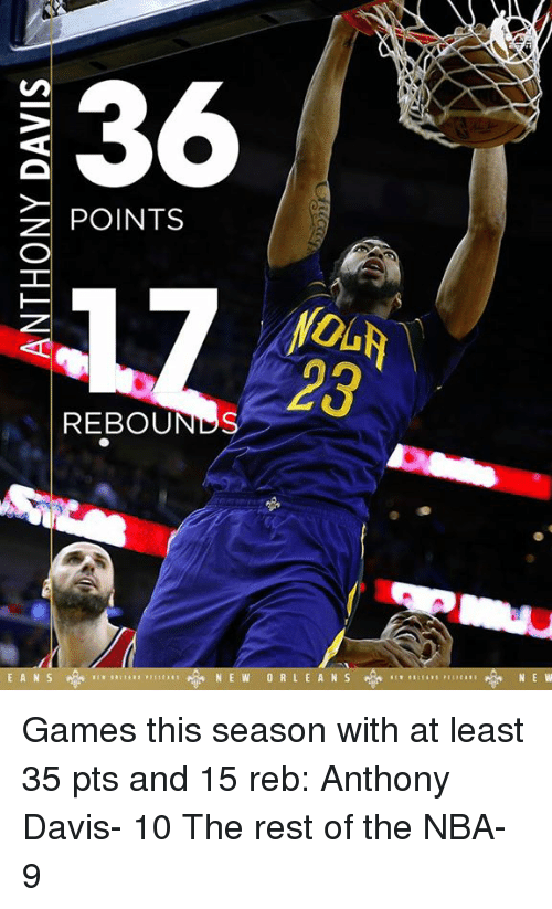 Memes, Anthony Davis, and 🤖: 36  z POINTS  REBOUNDS  E A N S  N E W  O R L E A N S  NE W Games this season with at least 35 pts and 15 reb:  Anthony Davis- 10 The rest of the NBA- 9