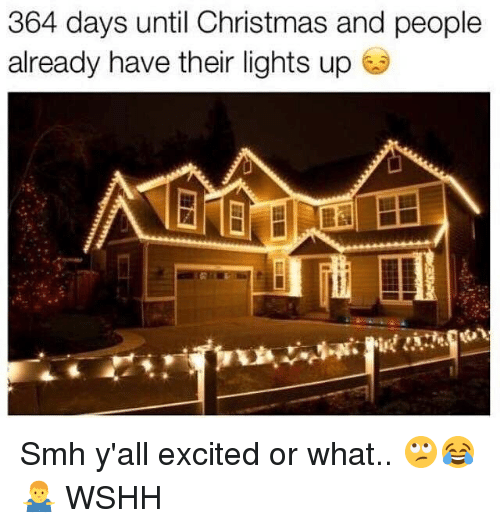 Christmas, Memes, and Smh: 364 days until Christmas and people  already have their lights up Smh y'all excited or what.. 🙄😂🤷‍♂️ WSHH