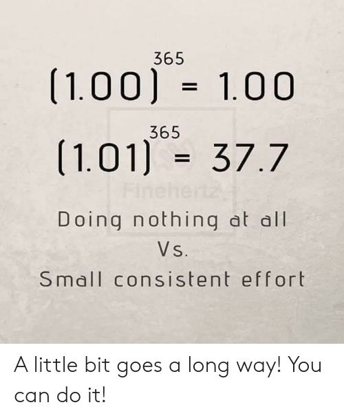 Long Way: 365  (1.00) 1.00  365  (1.01) 37.7  Fine  Doing nothing at all  Vs.  Small consistent effort A little bit goes a long way! You can do it!