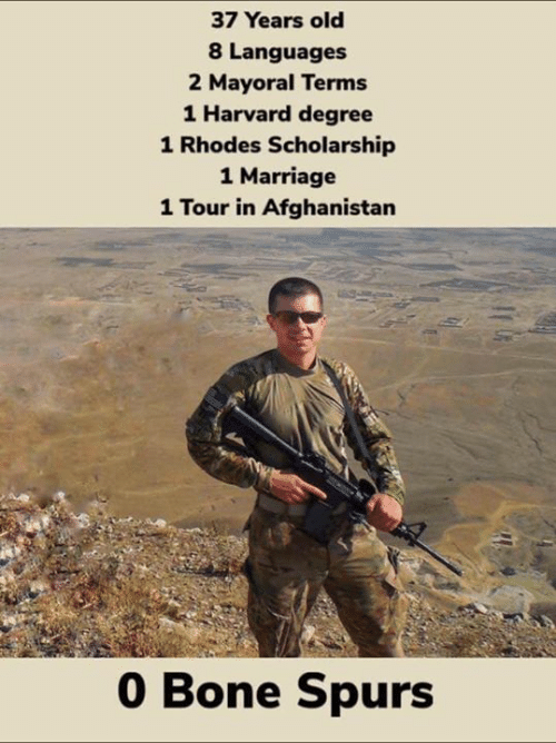Afghanistan: 37 Years old  8 Languages  2 Mayoral Terms  1 Harvard degree  1 Rhodes Scholarship  1 Marriage  1 Tour in Afghanistan  0 Bone Spurs
