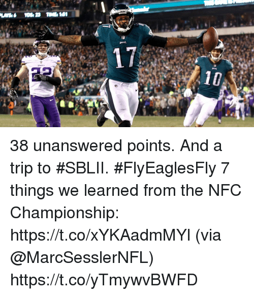 Memes, 🤖, and Nfc: 38 unanswered points. And a trip to #SBLII. #FlyEaglesFly  7 things we learned from the NFC Championship: https://t.co/xYKAadmMYl (via @MarcSesslerNFL) https://t.co/yTmywvBWFD