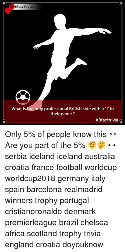 "Africa, Barcelona, and Chelsea: 38Fact Football  What is the only professional British side with a ""J""in  their name ?  Only 5% of people know this 👀 Are you part of the 5% 🤨🤔 • • serbia iceland iceland australia croatia france football worldcup worldcup2018 germany italy spain barcelona realmadrid winners trophy portugal cristianoronaldo denmark premierleague brazil chelsea africa scotland trophy trivia england croatia doyouknow"