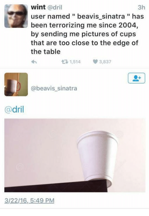 Beavies: 3h  wint  @dril  user named beavis sinatra has  been terrorizing me since 2004,  by sending me pictures of cups  that are too close to the edge of  the table  1,514 3,837  beavis sinatra  dril  312216, 5:49 PM