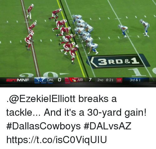 Memes, 🤖, and Yard: 3RD &  0  ARI-71 2ND 8:21 10  UMNF  3rd & 1 .@EzekielElliott breaks a tackle...  And it's a 30-yard gain! #DallasCowboys #DALvsAZ https://t.co/isC0ViqUIU