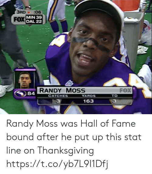 Thanksgiving: 3RD :06  FOX MIN 39  DAL 22  FOX  RANDY MOSS  YARDS  84  СAТCHES  TD  163  33 Randy Moss was Hall of Fame bound after he put up this stat line on Thanksgiving https://t.co/yb7L9I1Dfj