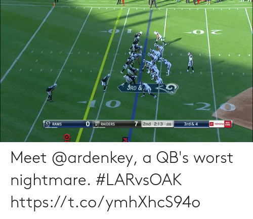 Toyota: 3RD&  3rd &4  7 2nd 2:13 :08  RED  TOYOTA ZONE  RAMS  RAIDERS Meet @ardenkey, a QB's worst nightmare.  #LARvsOAK https://t.co/ymhXhcS94o
