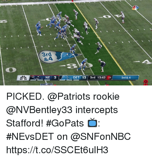 Memes, Patriotic, and 🤖: 3rd  &4  2 DET 13 3rd 13:42 :04  0-2  3rd & 4 PICKED.  @Patriots rookie @NVBentley33 intercepts Stafford! #GoPats  📺: #NEvsDET on @SNFonNBC https://t.co/SSCEt6ulH3