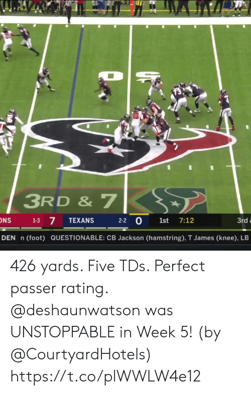 unstoppable: 3RD & 7  7  2-2 0 1st 7:12  1-3  TEXANS  3rd  DEN n  (foot) QUESTIONABLE: CB Jackson (hamstring), T James (knee), LB 426 yards. Five TDs. Perfect passer rating.   @deshaunwatson was UNSTOPPABLE in Week 5! (by @CourtyardHotels) https://t.co/plWWLW4e12