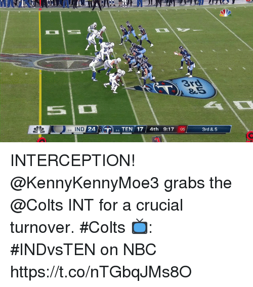 interception: 3rd  8.5  e-6 IND  24  96 TEN 17 4th 9:17 :05  3rd & 5 INTERCEPTION!  @KennyKennyMoe3 grabs the @Colts INT for a crucial turnover. #Colts  📺: #INDvsTEN on NBC https://t.co/nTGbqJMs8O
