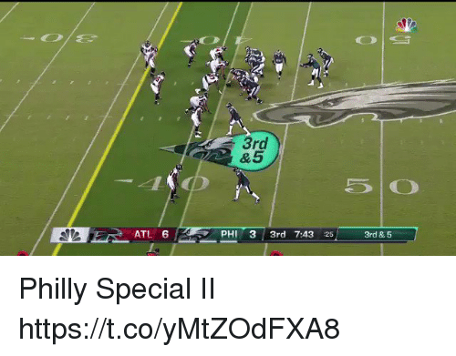 Football, Nfl, and Sports: 3rd  ATL 6  PHI 3 3rd 7:43 25  3rd & 5 Philly Special II  https://t.co/yMtZOdFXA8