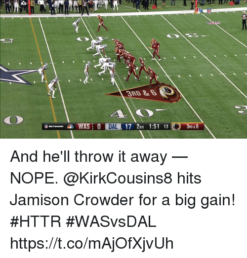 Crowder: 3RD &  CO  RD & And he'll throw it away — NOPE.  @KirkCousins8 hits Jamison Crowder for a big gain! #HTTR  #WASvsDAL https://t.co/mAjOfXjvUh